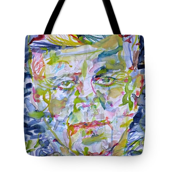 Tote Bag featuring the painting John F. Kennedy - Watercolor Portrait.2 by Fabrizio Cassetta