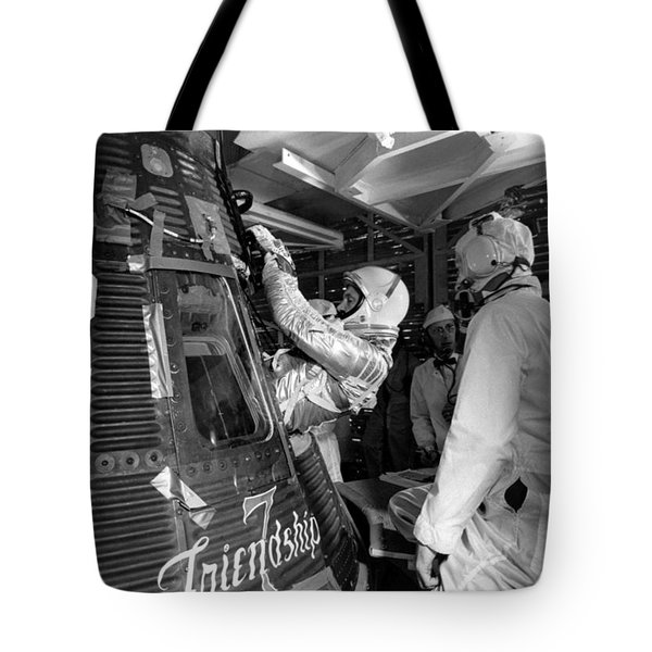 John Glenn Entering Friendship 7 Spacecraft Tote Bag