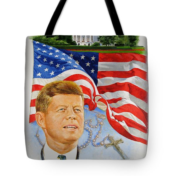 Tote Bag featuring the painting John Kennedy Catholic by Cliff Spohn
