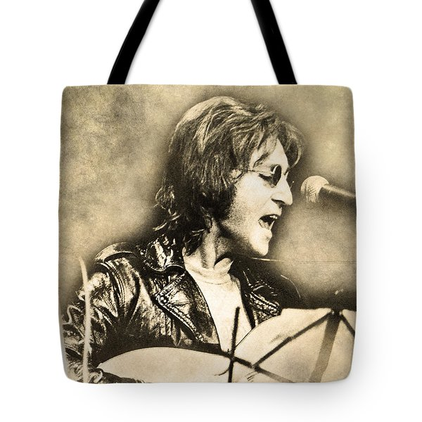 Tote Bag featuring the digital art John Lennon by Anthony Murphy