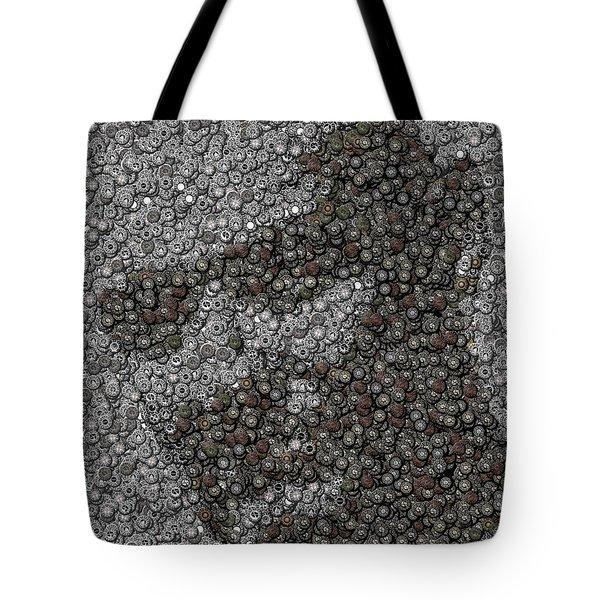 John Locke Dharma Button Mosaic Tote Bag by Paul Van Scott
