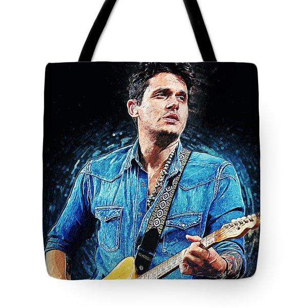 Tote Bag featuring the digital art John Mayer by Taylan Apukovska