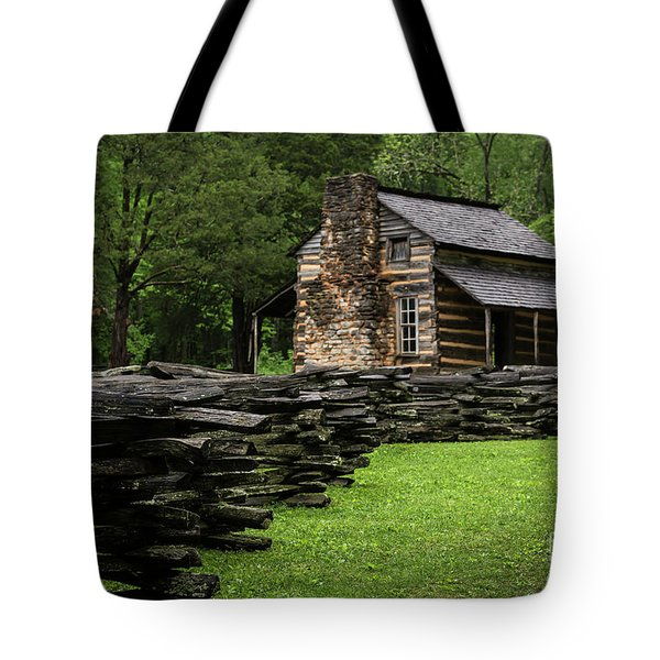 Tote Bag featuring the photograph John Oliver Cabin by Andrea Silies