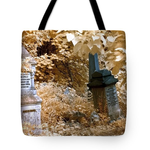 Tote Bag featuring the photograph Autumnal Walk At Abney Park Cemetery by Helga Novelli