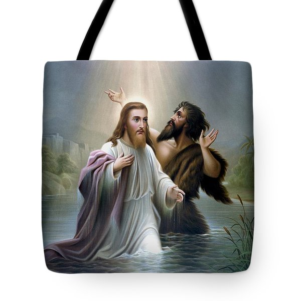 John The Baptist Baptizes Jesus Christ Tote Bag