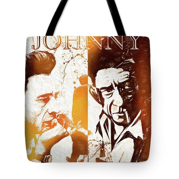 Johnny Cash Grunge Tote Bag