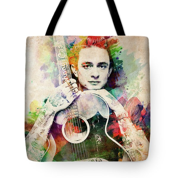 Johnny Cash With Guitar Tote Bag