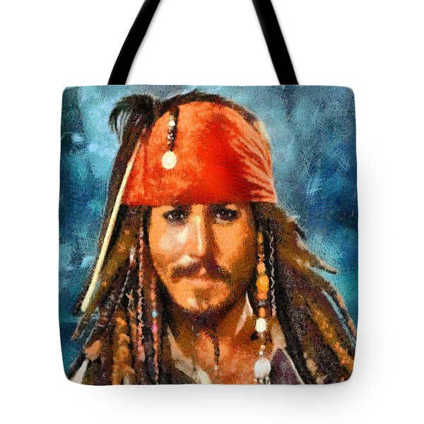 Tote Bag featuring the digital art Johnny Depp As Jack Sparrow by Charmaine Zoe