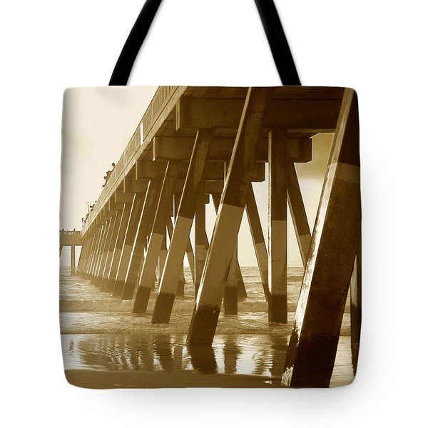 Tote Bag featuring the photograph Johnny Mercer Pier At Sunrise by Phil Mancuso