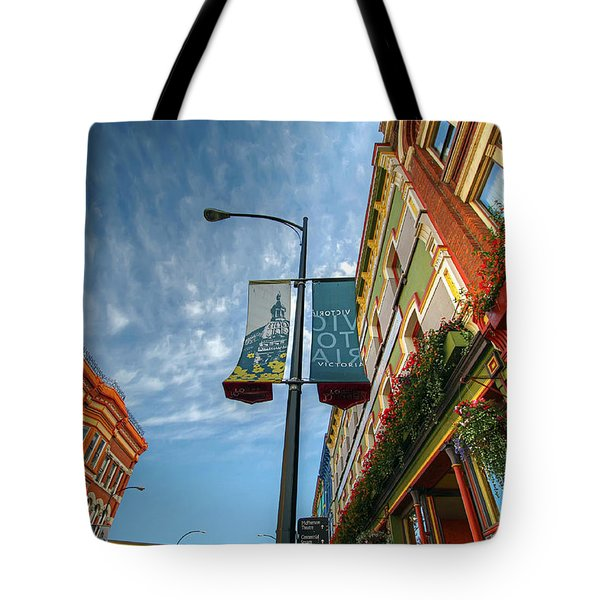 Johnson Street In Victoria B.c. Tote Bag by David Gn