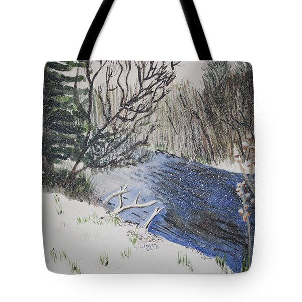 Tote Bag featuring the painting Johnson Vermont In Spring Snow Storm by Donna Walsh