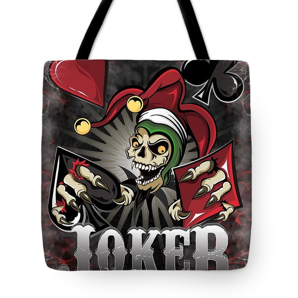 Joker Poker Skull Tote Bag