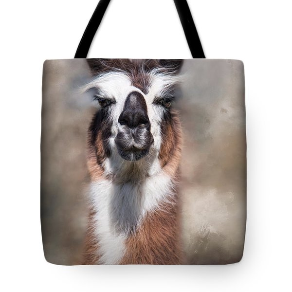 Tote Bag featuring the photograph Jolly Llama by Robin-Lee Vieira