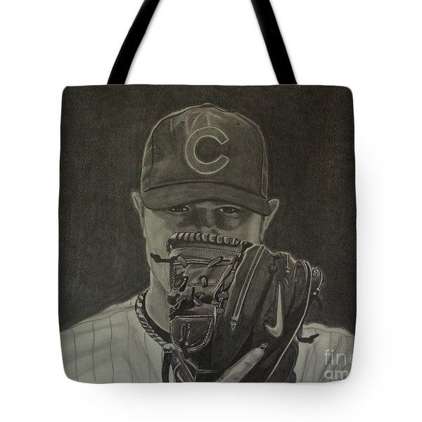 Tote Bag featuring the drawing Jon Lester Portrait by Melissa Goodrich