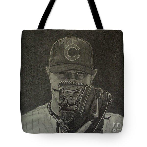 Jon Lester Portrait Tote Bag by Melissa Goodrich