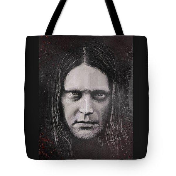 Tote Bag featuring the drawing Jonas P Renkse Musician From Katatonia Band By Julia Art by Julia Art
