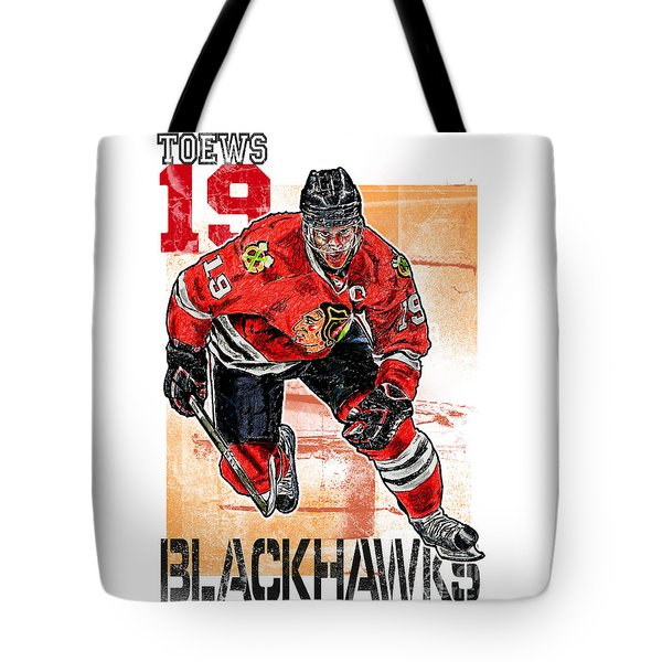 Jonathan Toews Tote Bag by Maria Arango