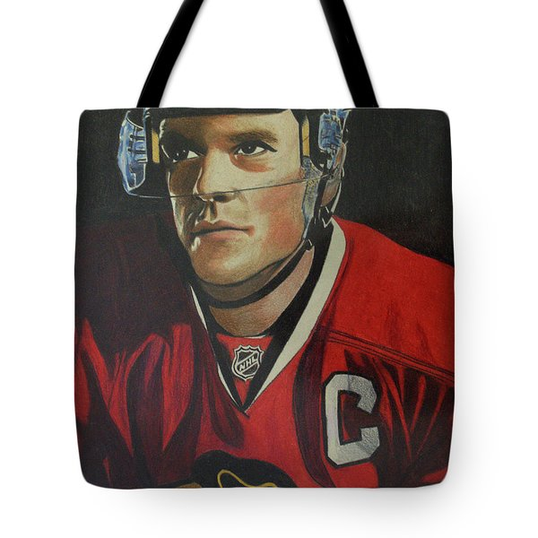 Tote Bag featuring the drawing Jonathan Toews Portrait by Melissa Goodrich