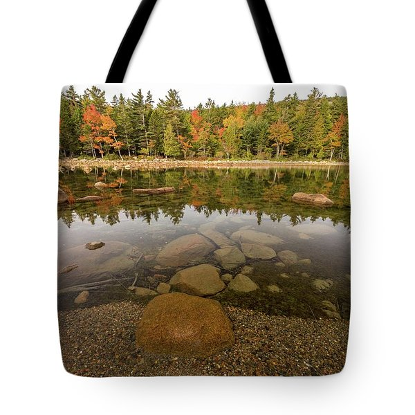 Tote Bag featuring the photograph Jordan Pond Fall Reflection by Paul Schultz