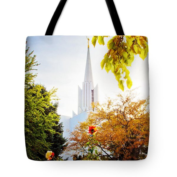 Jordan River Temple Rose Tote Bag by La Rae  Roberts