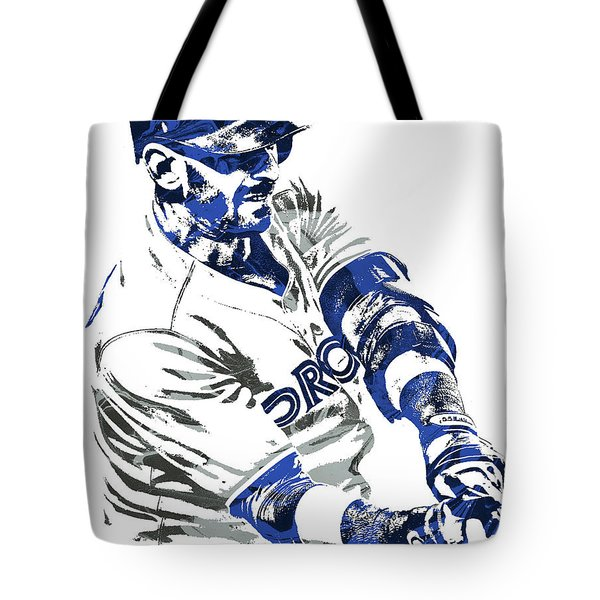 Tote Bag featuring the mixed media Jose Bautista Toronto Blue Jays Pixel Art by Joe Hamilton