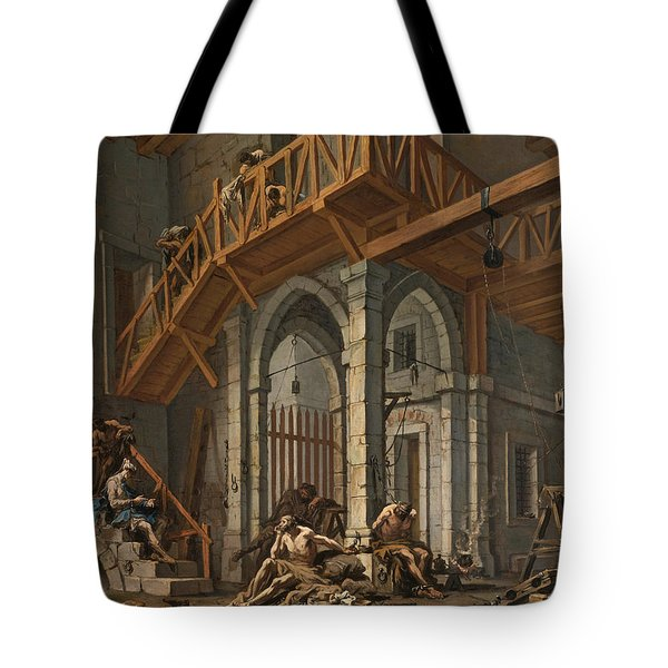 Tote Bag featuring the painting Joseph Interprets The Dreams Of The Pharaoh's Servants Whilts In Jail by Alessandro Magnasco