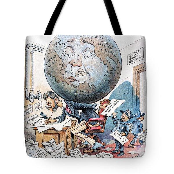 Joseph Pulitzer Cartoon Tote Bag by Granger
