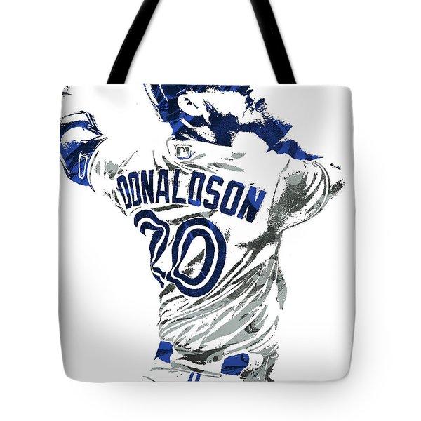 Tote Bag featuring the mixed media Josh Donaldson Toronto Blue Jays Pixel Art by Joe Hamilton