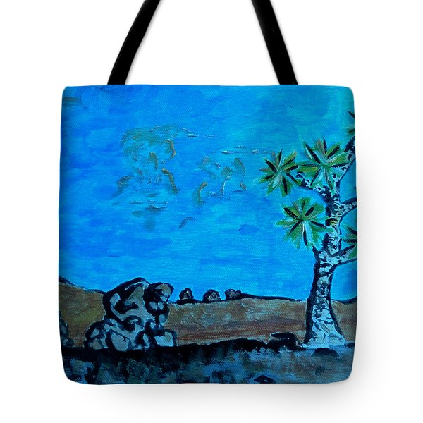 Tote Bag featuring the painting Joshua Tree And Personality Of Rocks by Carolina Liechtenstein