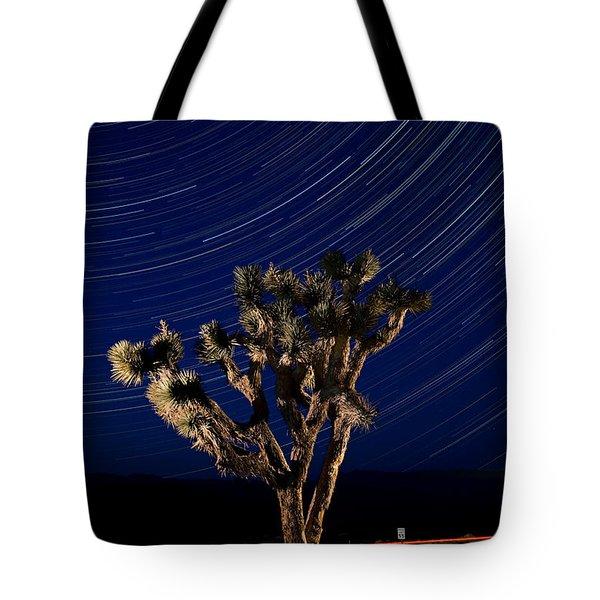 Joshua Tree And Star Trails Tote Bag