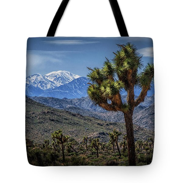 Tote Bag featuring the photograph Joshua Tree In Joshua Park National Park With The Little San Bernardino Mountains In The Background by Randall Nyhof