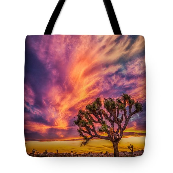 Joshua Tree In The Glowing Swirls Tote Bag