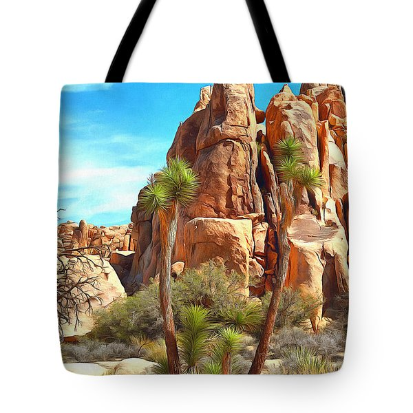 Joshua Trees And Rocks Tote Bag by Viktor Savchenko