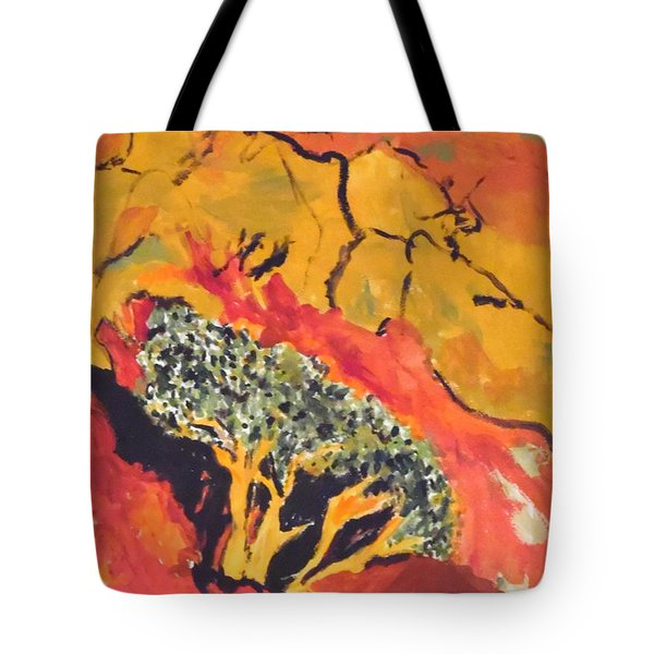 Tote Bag featuring the painting Joshua Trees In The Negev by Esther Newman-Cohen