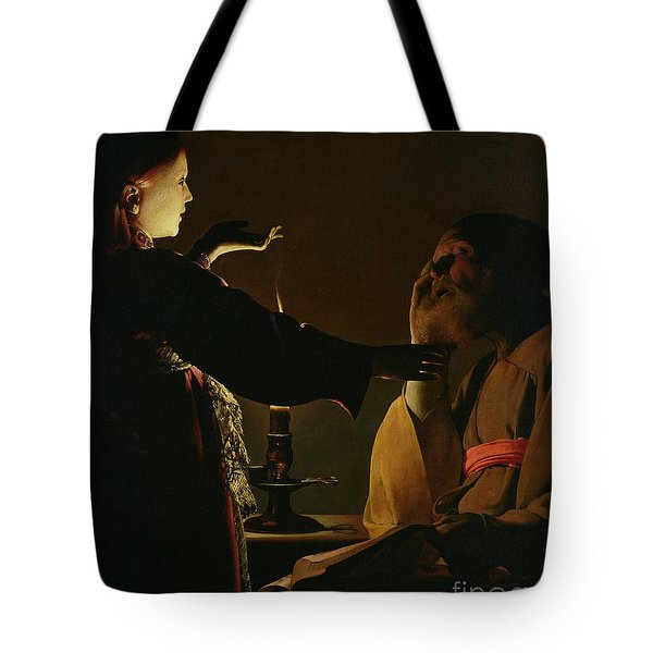Jospeh And The Angel Tote Bag by Georges de la Tour