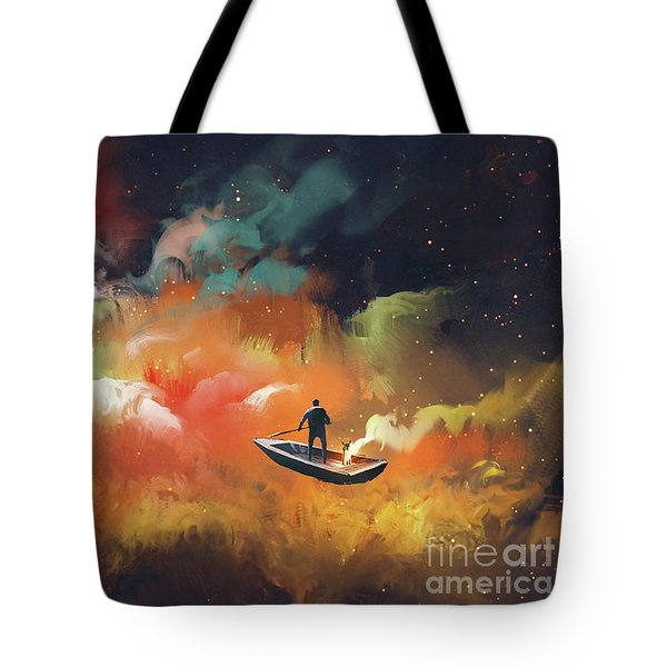 Tote Bag featuring the painting Journey To Outer Space by Tithi Luadthong