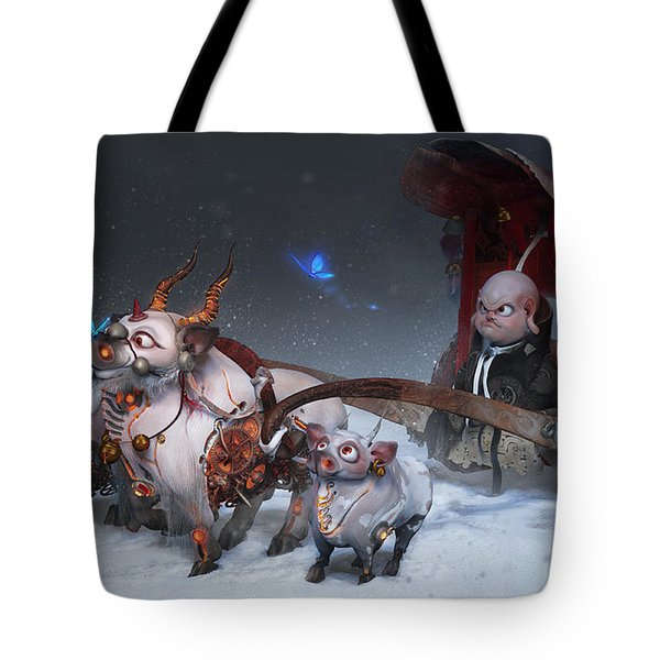 Tote Bag featuring the digital art Journey To The West by Te Hu