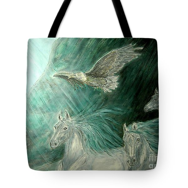 Journeyscape-out Of Darkness Tote Bag by Kim Jones