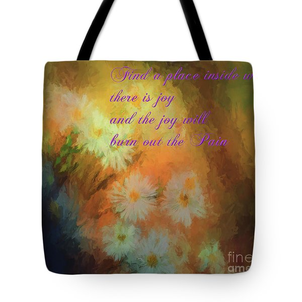 Tote Bag featuring the mixed media Joy by Jim  Hatch