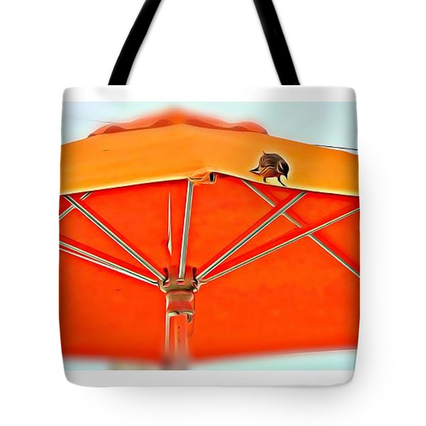 Tote Bag featuring the digital art Joy On An Umbrella by Mindy Newman