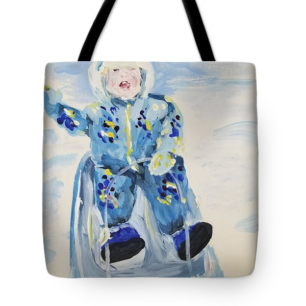 Tote Bag featuring the painting Joy Ride by Maria Langgle