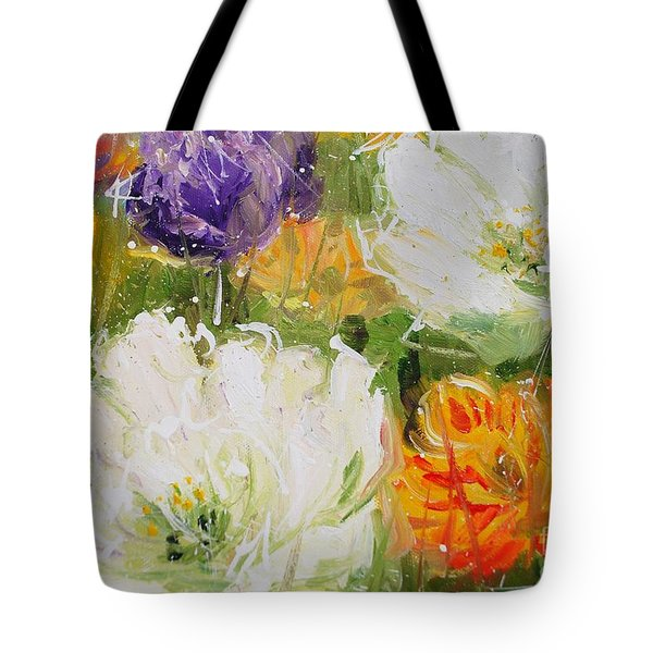 Joy With Tulips Tote Bag