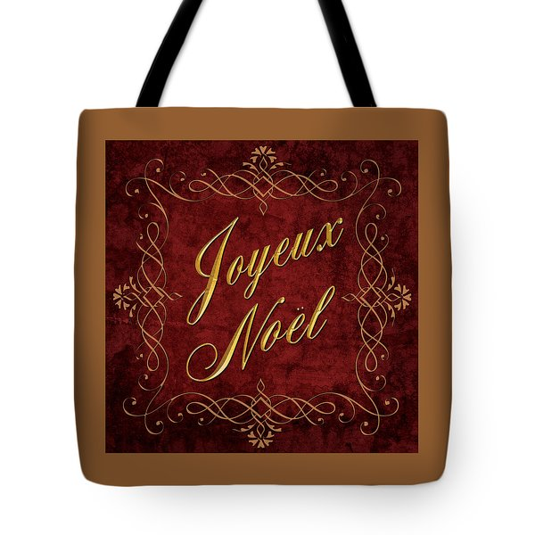 Joyeux Noel In Red And Gold Tote Bag by Caitlyn  Grasso