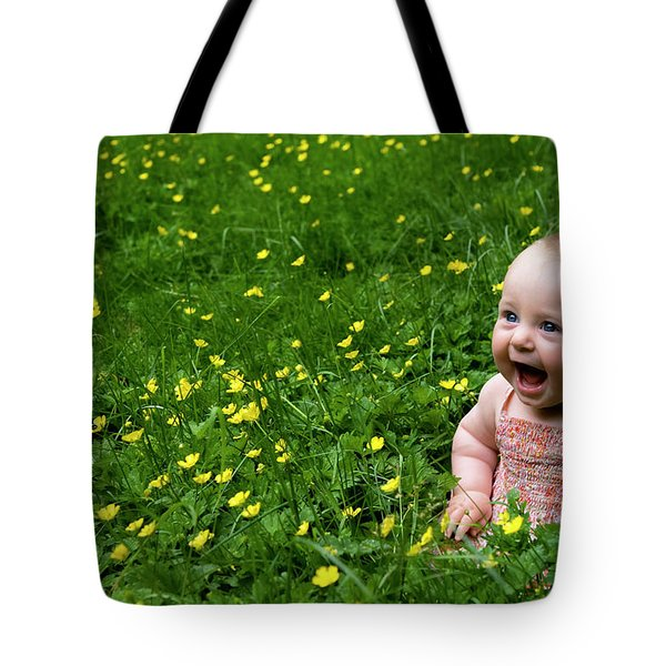 Joyful Baby In Flowers Tote Bag