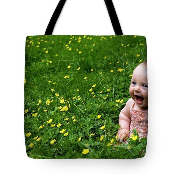Tote Bag featuring the photograph Joyful Baby In Flowers by Lorraine Devon Wilke