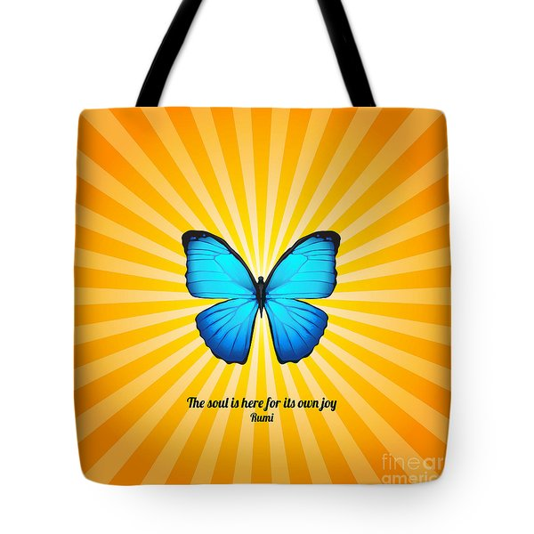 Tote Bag featuring the digital art Joyful Butterfly With Quote By Rumi by Ginny Gaura
