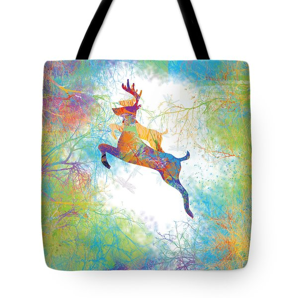 Tote Bag featuring the digital art Joyful Leaps by Trilby Cole