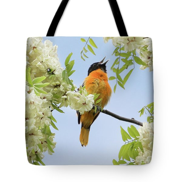 Joyful Oriole Tote Bag by Anita Oakley