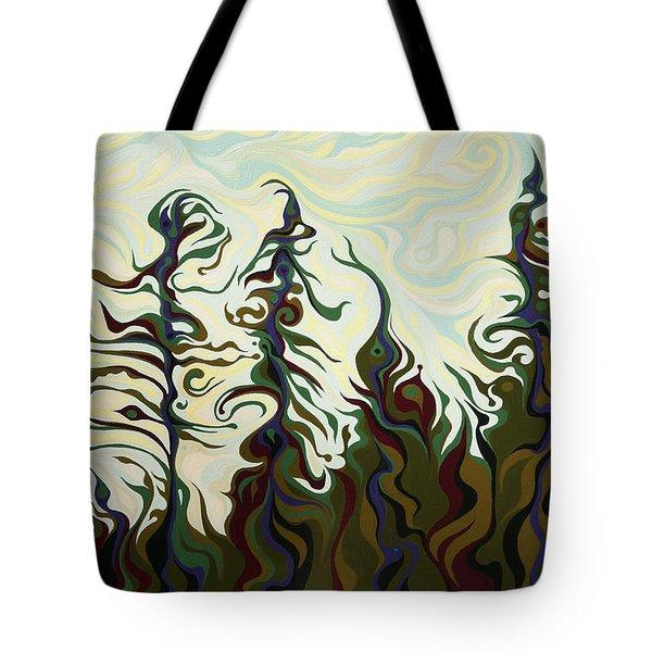 Joyful Pines, Whispering Lines Tote Bag