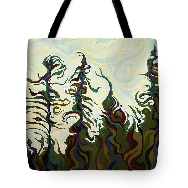 Joyful Pines, Whispering Lines Tote Bag